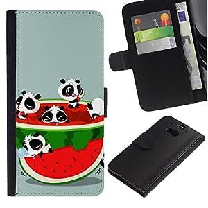 KingStore / Leather Etui en cuir / HTC One M8 / Sandía Fruta Fresca oso de panda roja linda