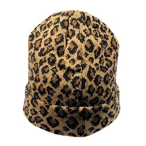 (Smallrabbit Womens Winter Hats Unisex Leopard Print Cuffed Beanie Soft Warm Slouchy Cap Hat (Yellow))