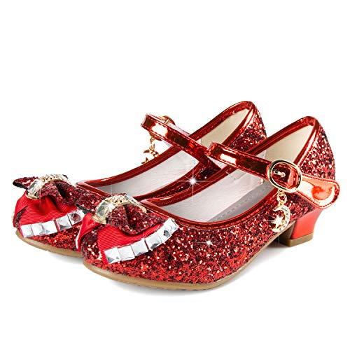 Birthday Party Little Girl's Adorable Sparkle Mary Jane Side Bow Strap Low Heels Princess Dress Shoes(Red 1M Little Kid)