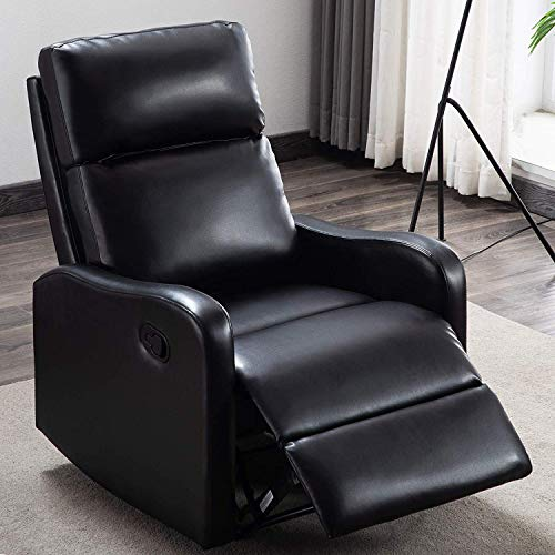 ANJ Chair Contemporary Leather Recliner Chair for Modern Living Room Classic Black-R6275