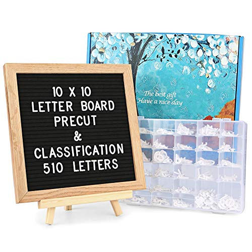 Felt Letter Board with Letters - 510 Pre Cut Letters Already Classified According to A~Z 0~9 Symbol Emojis,10X10 Letter Board Message Board Letter Sign with Stand +Sorting Tray +Wall Mount +Gift Box.