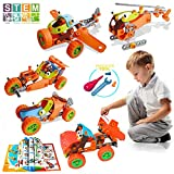 AiToy Kids Building Toys Blocks, STEM Educational DIY Building Kits for Boys Girls, 123 PCS 5-in-1...