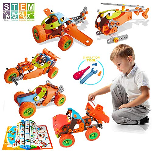 AiToy Kids Building Toys Blocks, STEM Educational DIY Building Kits for Boys Girls, 123 PCS 5-in-1 Build and Play Toy for 5, 6, 7 Year Old (Build with Help) 8, 9, 10 Year Old Kids Gift (123-PCS)