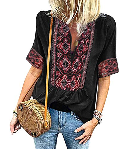 Mansy Women's Summer V Neck Boho Print Embroidered Shirts Short Sleeve Casual Tops Blouse