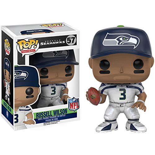 Funko Russell Wilson [Seahawks]: NFL x POP! Football Vinyl Figure & 1 POP! Compatible PET Plastic Graphical Protector Bundle [#057 / 10229 - - Football Pop