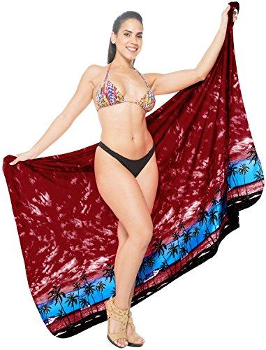 La Leela Knoten Sarong/eingebaute Verbindungen Greifen Badeanzug Coverup Bikini-Badeanzug Bademode Hellrot_123 5BtDP