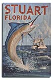 Lantern Press Stuart, Florida - Marlin Fishing Scene (10x15 Wood Wall Sign, Wall Decor Ready to Hang)