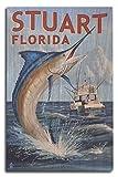 Stuart, Florida - Marlin Fishing Scene (10x15 Wood Wall Sign, Wall Decor Ready to Hang)