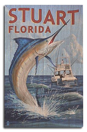 Lantern Press Stuart, Florida - Marlin Fishing Scene (10x15 Wood Wall Sign, Wall Decor Ready to Hang) - Florida Marlins Sign