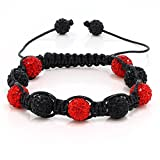 Gem Stone King Fully Iced Out Hip Hop Pave 10mm Red Disco Ball Adjustable Bracelet