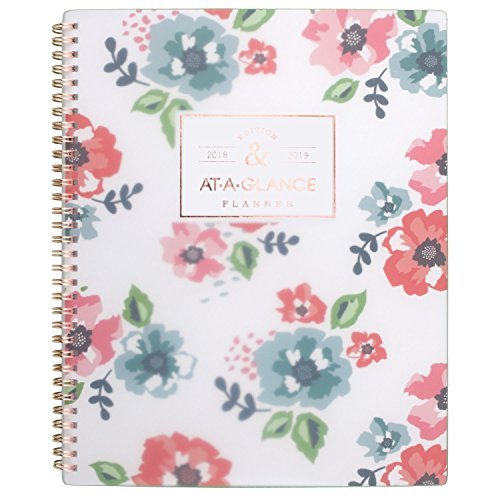 "Price comparison product image AT-A-GLANCE Academic Weekly / Monthly Planner,  July 2018 - June 2019,  8-1 / 2"" x 11"",  Floral,  Badge (1124F-905A)"