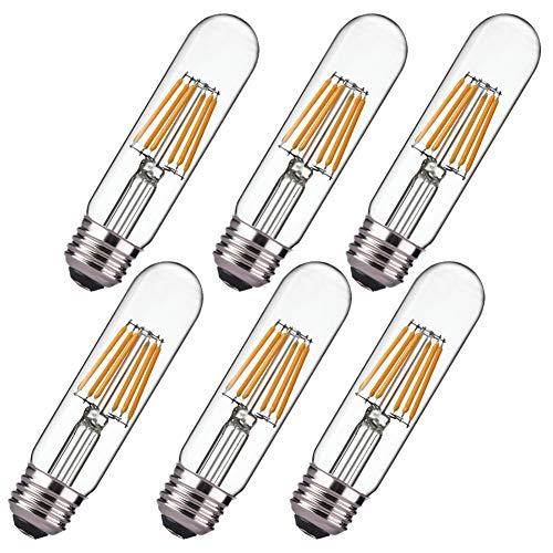 Dimmable 6W Edison Led Tubular Bulb T10, Warm White 2700K, Vintage Led Filament Light Bulb, E26 Medium Base, 60 Watt Bulb Equivalent, 550LM,Clear Glass Cover, Pack of 6(2 Year Warranty)