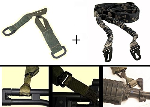 Ultimate Arms Gear IDF Israeli Defense Forces Pair of Slip On OD Green Loop Adapter w/ D-Ring + Two-Point Sling, ACU Digital For AR15/AR10/M4/M16/A2/A1 by Ultimate Arms Gear