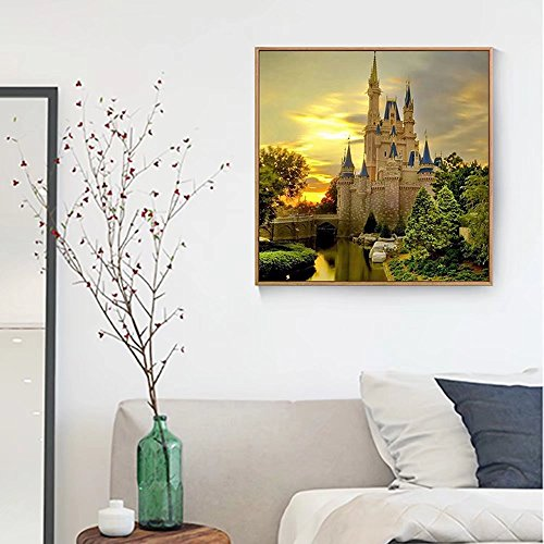 5D DIY Palace Landscape Diamond Painting by Number Castle Scenery Cross Stitch Full Round Diamond Picture Embroidery Mosaic Painting Home Decor Handmade Wall Art -