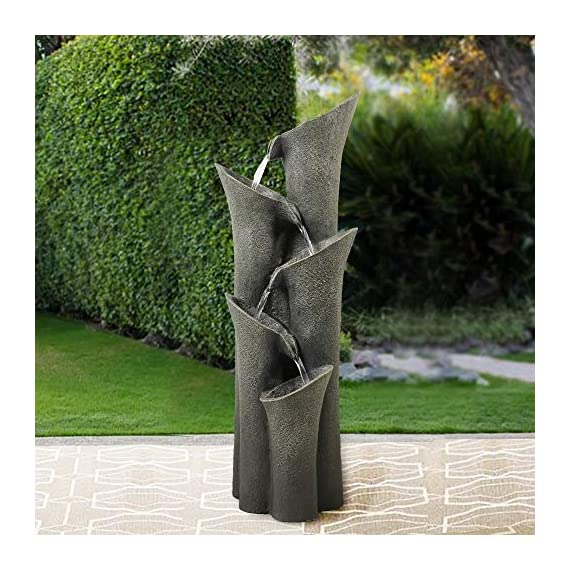 """BBabe Faux Stone LED Floor Fountain 39 2/5"""", Bell 5-Tier Waterfall Outdoor Fountain LED Illuminated Water Feature for Patio Garden - Made out of a mix of resin and fiber, lightweight but also sturdy, easy to set up and move around.Comes with a UL listed recirculating water pump, no external plumbing is required for operation. Add touches of nature to your space with this waterfall floor fountain. The tranquil sound of natural flowing water produced by this water feature will sooth your body and relax your mind. This patio water fountain features contemporary design mixed with natural elements, which will be great addition to any home decor. - patio, outdoor-decor, fountains - 51%2BOHbNOG0L. SS570  -"""