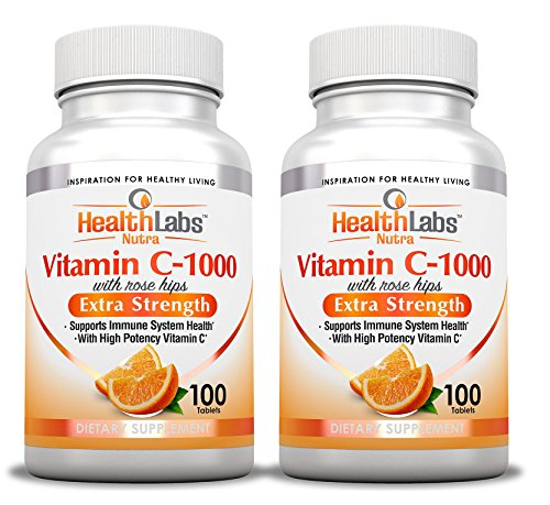 Health Labs Nutra Extra-Strength Vitamin C 1,000mg with Rose Hips (Fast-Acting Non-Chewable Tablets) - Pack of 2