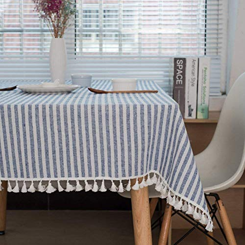 Meiosuns Tablecloth Striped Fringe Table cloth Rectangular Tablecloths Cotton Linen Table Cover Suitable for Home Kitchen Decoration,Various Sizes (Blue/White Stripes, 55