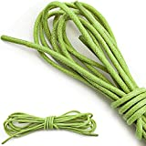 """DailyShoes Male Round Waxed Shoelaces Oxford Flat Dress Canvas Shoe Laces, (Great for Utility Women's Men's Boot), (1 PAIR), Lime Green, 54"""" INCH (137 cm)"""