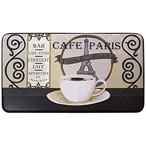 Chef Gear Cafe Paris Faux Leather Anti Fatigue Cushioned Chef Mat, 18 By  30 Inch