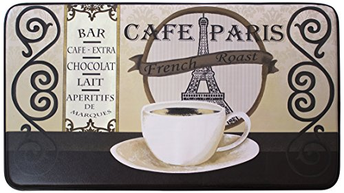 Chef Gear Cafe Paris Faux Leather Anti-Fatigue Cushioned Chef Mat, 18 by 30-Inch