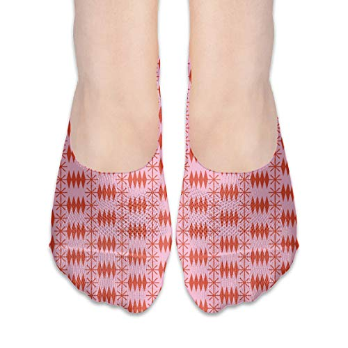 Postmark (Pink Cow) Snail Mail Postage Envelope Post Postal Geometric Diamonds Stars Seamless Extra Low Profile for women girl Casual Low Cut Non Slip invisible Boat Liner Socks