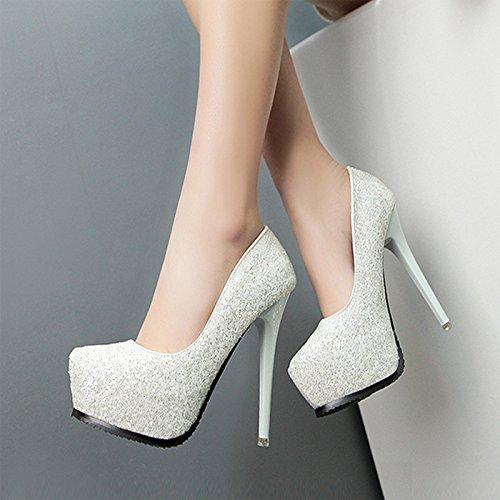 con rotonda silvery scarpe da testa tacchi impermeabile scarpe tacchi alti scarpe spillo a sexy lustrini super GTVERNH donna pxFwnCqHY