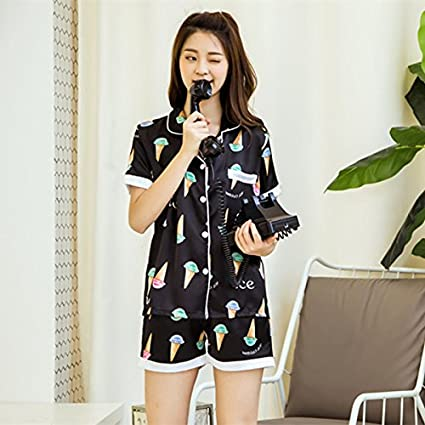 Sproud Spring Summer New Pyjamas Women Silk Sleepwear Short Sleeve Ladies Pajamas Cute Pajama Sets Pijama