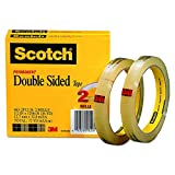 Scotch Double Sided Tape 5GM2C, 1/2 x 1296 Inches, 3-Inch Core, 4 Rolls