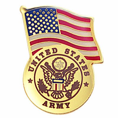 United States Army with American Flag Lapel Pin - Pack of 8 (Lapel Army Pin United States)