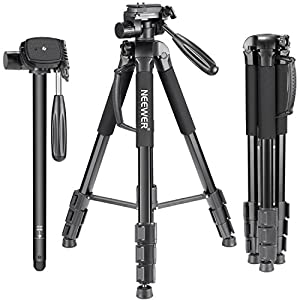Neewer Portable Aluminum Alloy Camera Tripod Monopod 70inches/177centimeters with 3-Way Swivel Pan Head, Carrying Bag
