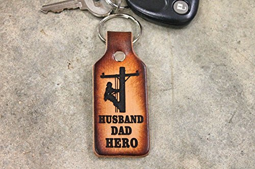 Lineman KEY CHAIN, Leather Key Chain for DAD or Husband, Handmade in the USA, Gift Boxed!