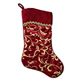 "NORTHLIGHT L35944 20"" Elegant Burgundy Red and Gold Flourish Design Christmas Stocking"