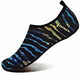 VIFUUR Water Sports Shoes Barefoot Quick-Dry Aqua Yoga Socks Slip-On for Men Women Kids Looming Blue/Yellow-42/43