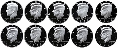 1990-1999 S Kennedy Half Dollars Gem Proof Run 10 Coins US Mint Decade Lot Complete 1990's Set -