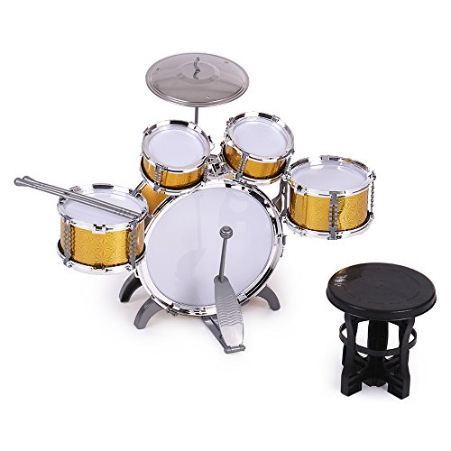 ammoon Children Kids Drum Set Musical Instrument Toy 5 Drums with Small Cymbal Stool Drum Sticks for Boys Girls -