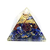Crocon Lapis Lazuli Orgone Pyramid With Crystal Point & 4 Copper Spring Gemstone Energy Generator For Reiki Healing Chakra Balancing Aura Cleansing & EMF Protection Size: 2.5-3 Inch