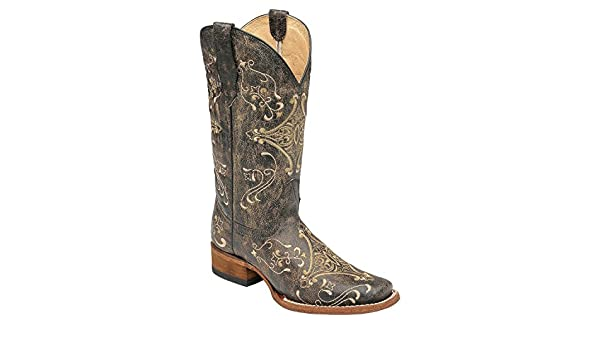 3a90679a689 Corral Boots Circle G Women Diamond Embroidered Black 6 M US Cowgirl Square  Toe