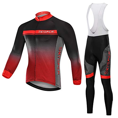 SKYSPER Men's Cycling Jersey Suit Long Sleeve MTB Bike Bicycle Shirt Tights 3D Padded Pants Winter Riding Gear Breathable ()