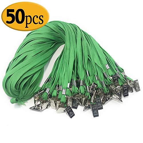 Green Lanyard Clip Bulk 50PCS 33-Inch Badge Lanyards with Clip Office Neck Flat Cotton Lanyard with Badge Bulldog Clip Green lanyards for id Badges (Green) -