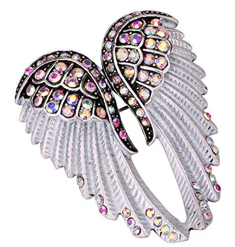 Angel Jewelry Women's Crystal Angel Wings Bling Pin Brooches Pendants