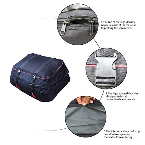 Luerme Outdoor Travel Camping Car 220L Waterproof Rainproof Dustproof Roof Top Cargo Carrier Oxford Cloth Roof Bag by Luerme (Image #1)