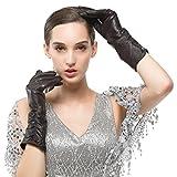 Nappaglo Women's Italian Lambskin Leather Gloves Winter Warm Simple Long Fleece Lining Gloves (Touchscreen or Non-Touchscreen) (XL (Palm Girth:8''-8.5''), Dark Brown (Non-Touchscreen))