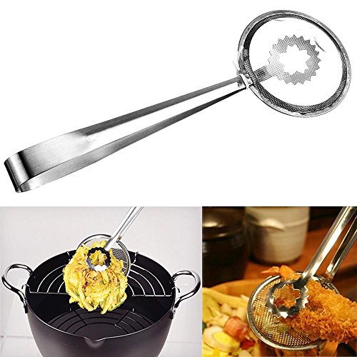 Wonderful Fry Tools | 7.2' Innovative 2 in 1 Kitchen Tool Serving Strainer Tongs in One Easy Grasp for Deep Frying and Drain Oil Fried Food | Food Grade Anti-Rust Stainless Steel Wire | 769