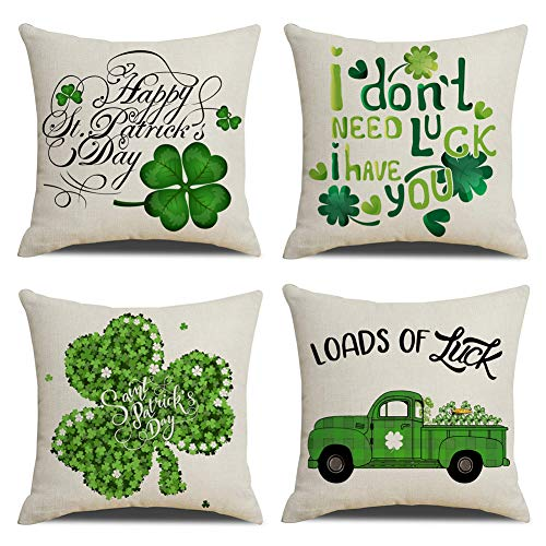 KACOPOL St. Patricks Day Green Clover Pillow Covers Cotton Linen Spring Decor Throw Pillow Case Cushion Cover 18 x 18 Set of 4 Happy Patricks Day, I Dont Need Luck I Have You, Loads of Luck...