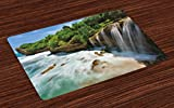 Lunarable Nature Place Mats Set of 4, Jogan Beach Waterfall View in Java Indonesia Tropical Seashore Scenery, Washable Fabric Placemats for Dining Room Kitchen Table Decoration, Green White and Brown