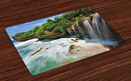 Lunarable Nature Place Mats Set of 4, Jogan Beach Waterfall View in Java Indonesia Tropical Seashore Scenery, Washable Fabric Placemats for Dining Room Kitchen Table Decoration, Green White and Brown by Lunarable