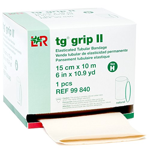 - tg grip II Elasticated Tubular Compression Bandage, Seamless Tube Stockinette Wrap for Retention, Lymphedema, & Swelling, Natural, Size H