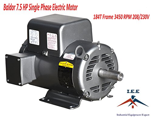 - Baldor 7.5 Hp Electric Motor 3450 RPM 184 T Frame 1 Ph Single Phase 208/230 Volt