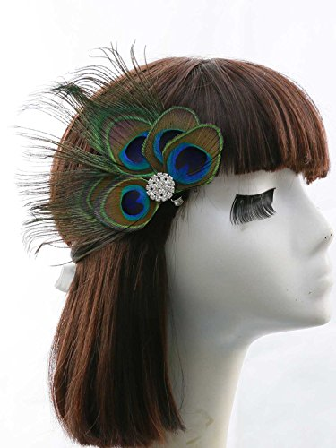 Nero Women's Handmade Peacock Feather Fascinator Headpiece, Fascinator Headband for Fancy Party