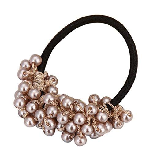 Holder Pearl - Putars Women Portable Multifunction Fashion Rhinestone Crystal Pearl Hair Band Rope Elastic Ponytail Holder (Brown)
